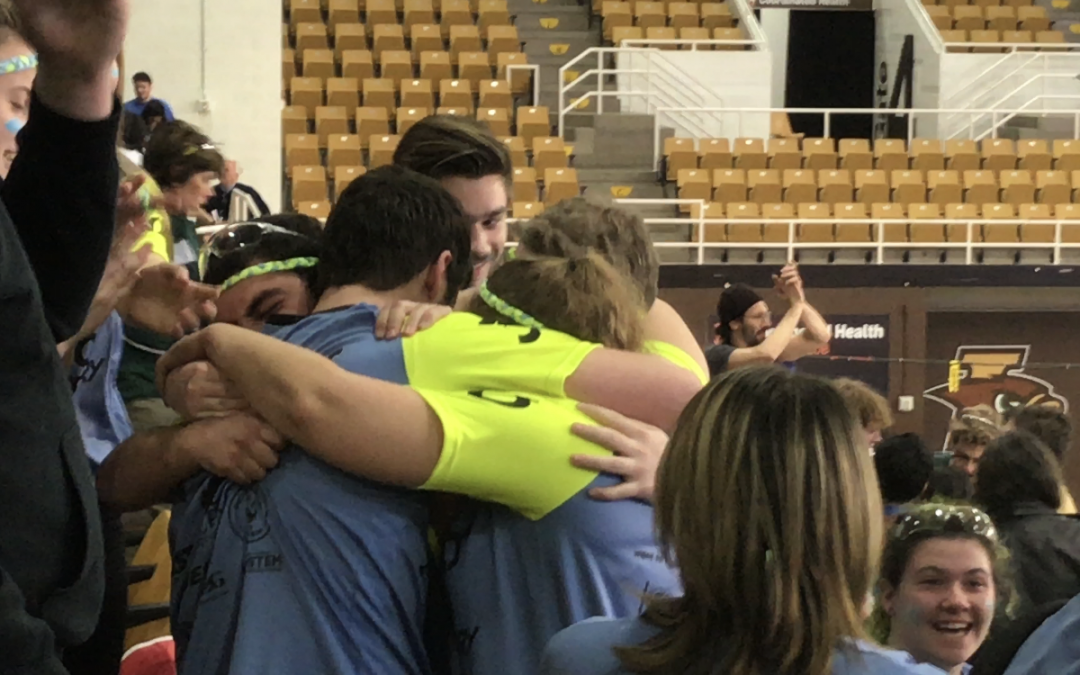 Team hugging after qualifying for worlds.